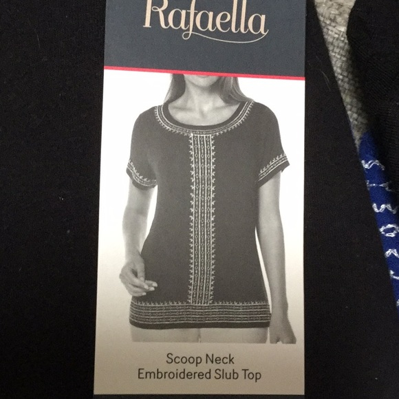 Rafaella Ladies Slub Top With Scoop Neck Top White Size X Large